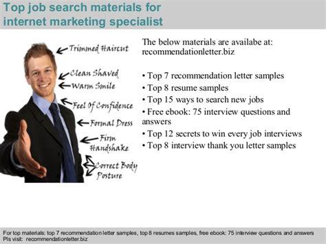 internet marketing specialist recommendation letter