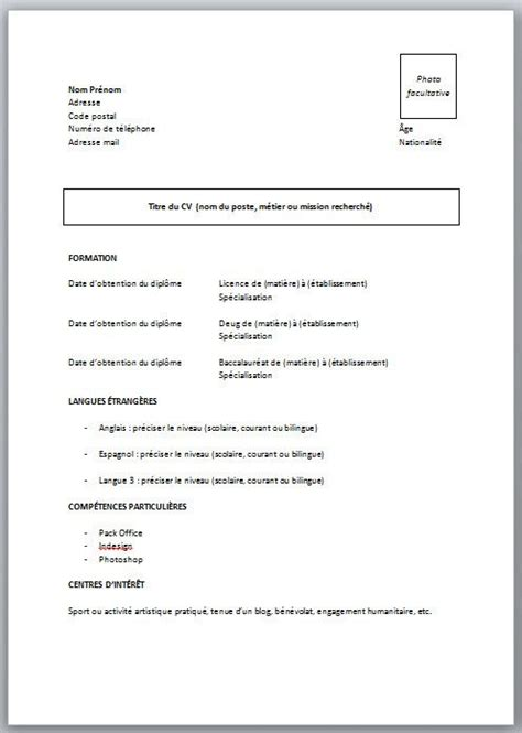 Exemple De Cv De Travail by Cv Pour 233 Tudiant Sans Exp 233 Rience Mod 232 Le Et Conseils En