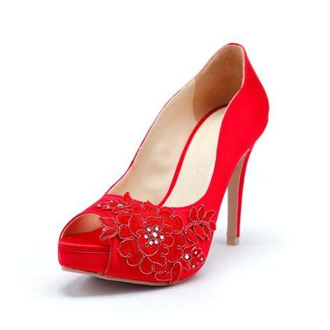 Hochzeitsschuhe Rot by Rote Hochzeits Heels Mit Roter Blume Stickerei Spitze