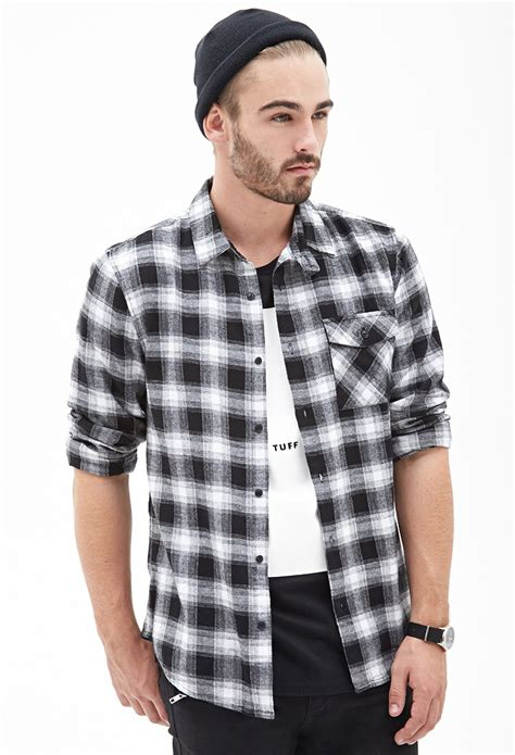 Kemeja Flannel Tartan Gradation Black 1 lyst forever 21 blurred plaid flannel shirt in black for