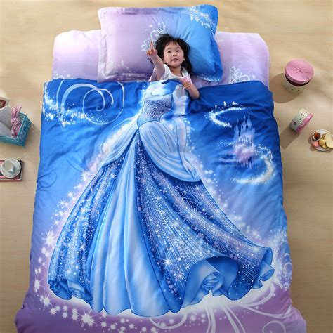 Organic Cotton Brand Designer 3d Bed Linen Cinderella Kids Cinderella Bedding Set