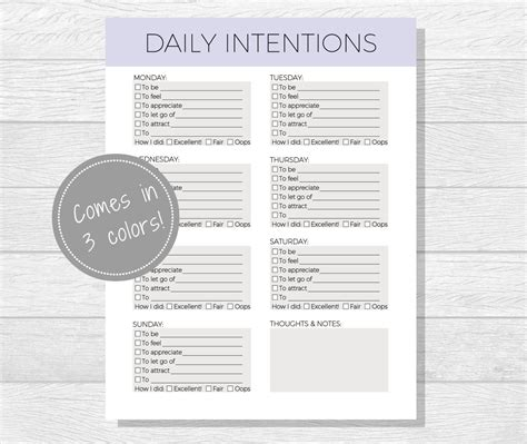 Daily Intentions Printable Daily Affirmations Daily Goal Worksheet Printable Goal List Daily Goals Template