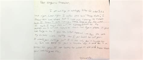 Apology Letter To Best Friend Yahoo Boy Writes Apology Note To After 911 Prank Call Abc News