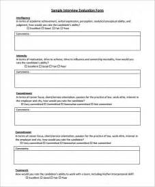 interview evaluation form 9 free examples amp format