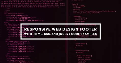 css code for mobile website responsive web design footer with html css and jquery