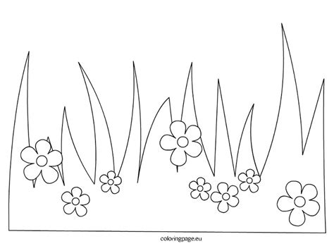Grass Coloring Pages grass with flowers coloring page
