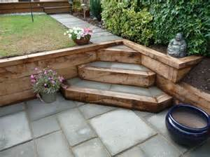 sleeper steps paving jpg 603 215 452 split level garden