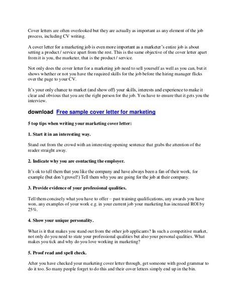 Advertising Cover Letter Tips Tips Sle Cover Letter Marketing