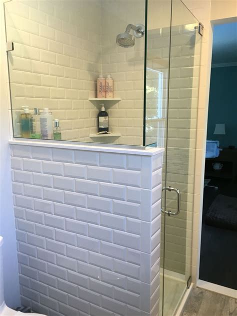 our master bathroom shower with beveled subway tiles - Beveled Subway Tile Shower