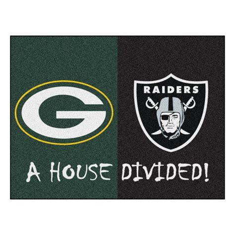 fanmats nfl packers raiders green house divided 2 ft 10