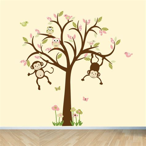 Monkey Wall Decals Nursery Wall Decals Girl Tree Wall Decal Monkey Nursery Wall Decals