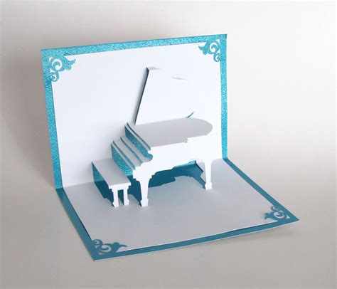 Handmade Pop Up Greeting Cards - grand piano 3d pop up greeting card handmade cut by