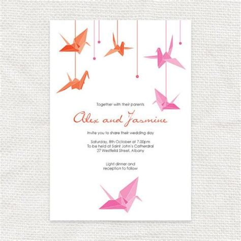 Wedding Invitation Japanese by Paper Crane Printable Wedding Invitation Origami Bird