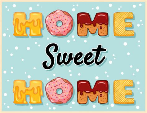 home sweet home cute funny lettering vector premium
