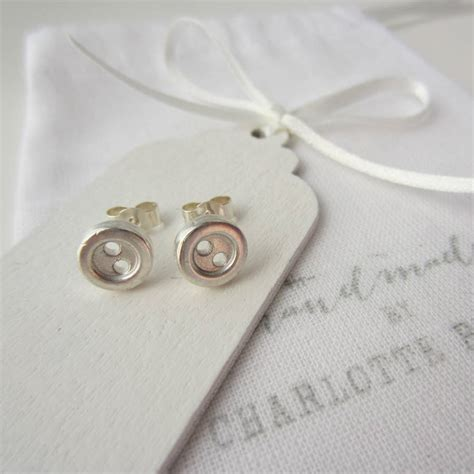 Sterling Silver Handmade Earrings - handmade sterling silver button earrings by