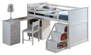 White Bunk Bed With Desk Children S Wood Loft Bed With Pull Out Desk White Contemporary Beds By Adarn Inc