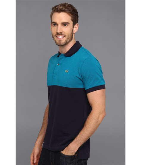 color block polo shirt lyst lacoste sleeve color block pique polo shirt