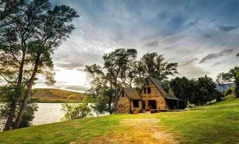 house landscape new zealand house lake trees landscape wallpaper