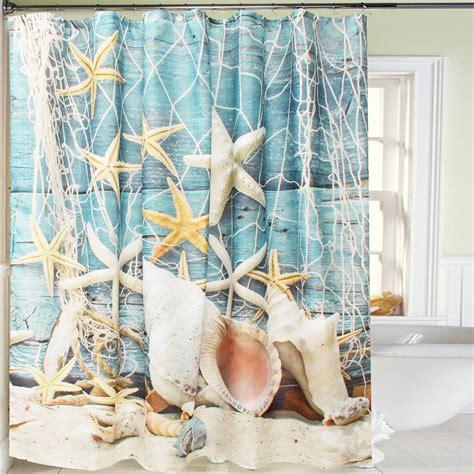 Curtain Fabric Decor Sea Shell Waterproof Bathroom Shower Curtain Fabric Sheer Decor Hooks 180 180cm Ebay