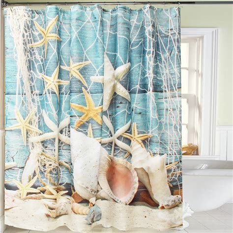 Sea shell waterproof bathroom shower curtain fabric sheer decor hooks 180 180cm ebay