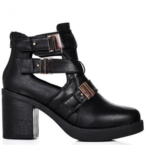 buy cube heeled cut out biker ankle boots black leather
