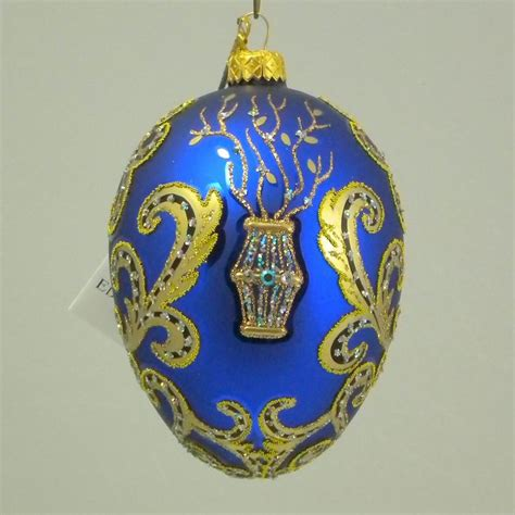 Handmade In Poland - edward bar folk easter blue egg glass ornaments