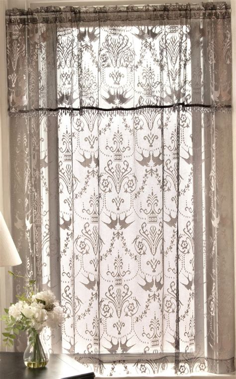 Brown Lace Curtains Contemporary Family Room Area With Brown Shanty Lace Curtain And Black Side Table