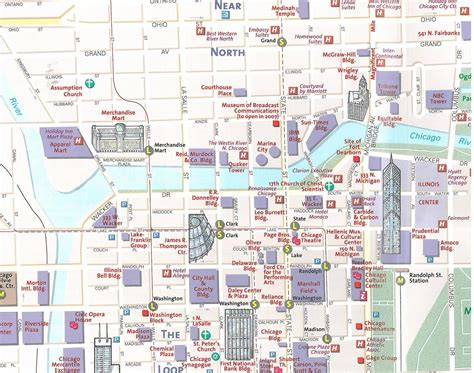chicago map attractions chicago tourist map tourist map of chicago united