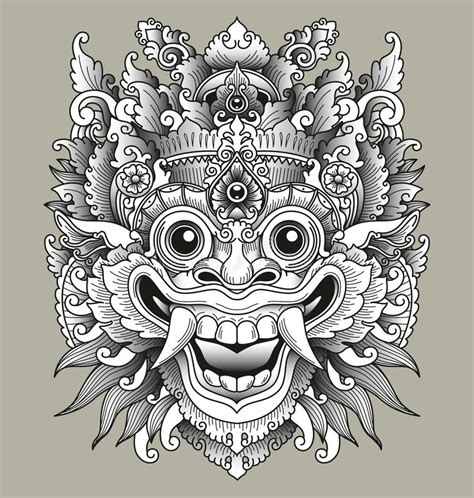 balinese barong traditional mask stock vector