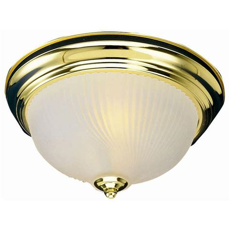 Brass Ceiling Light Fixtures Design House 1 Light Polished Brass Ceiling Fixture With Frosted Ribbed Glass 502096 The Home
