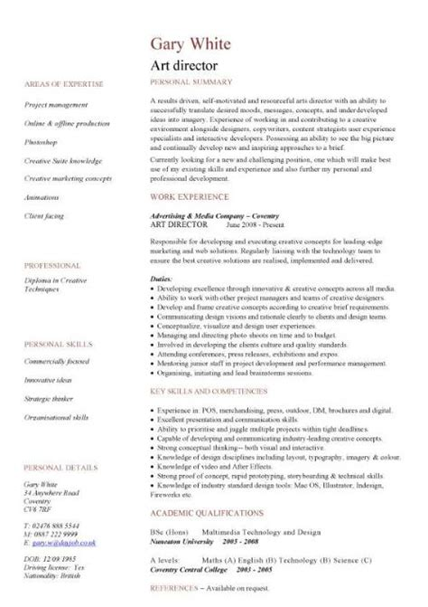 artistic resume format management cv template managers jobs director project