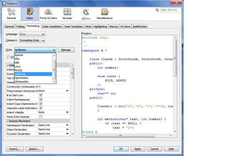 format html code in netbeans editing and navigating c c source files tutorial