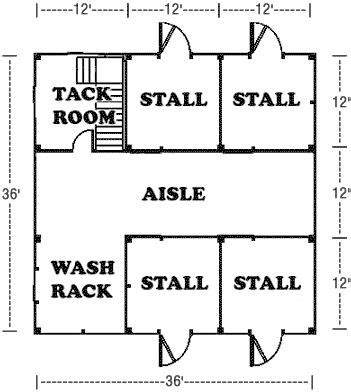 horse barn layouts floor plans 36 x36 horse barn plan
