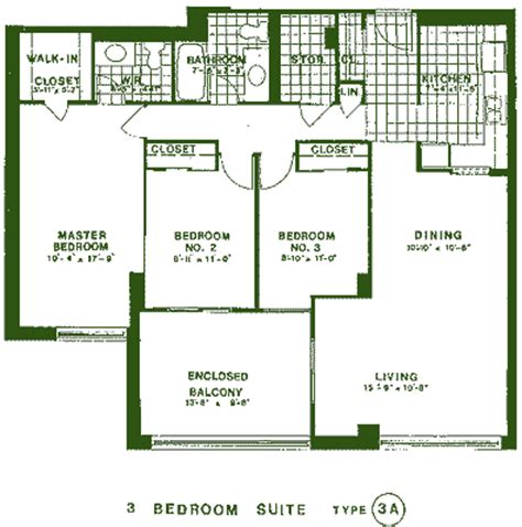 3 Bedroom Design Layout by 3 Bedroom Apartment A