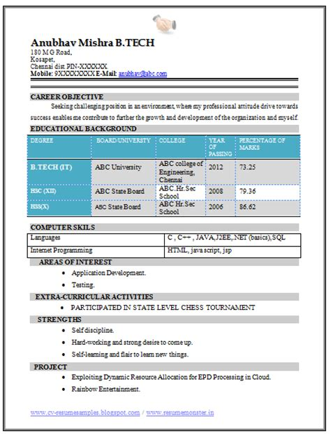 Resume Format For Freshers B Tech Mechanical 10000 Cv And Resume Sles With Free B