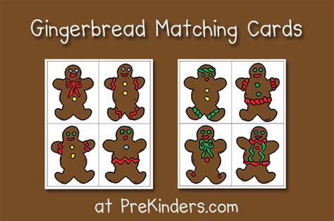gingerbread man matching game printable gingerbread matching cards prekinders