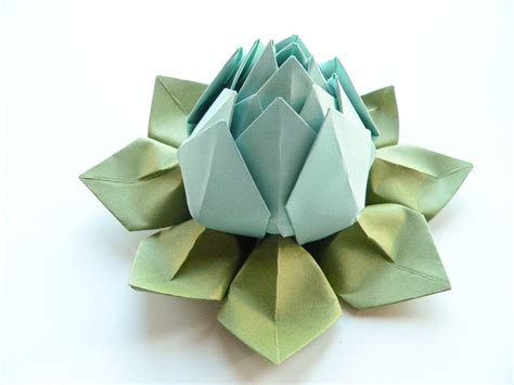 Origami Lotus Blossom - origami lotus flower in robin s egg blue and moss green