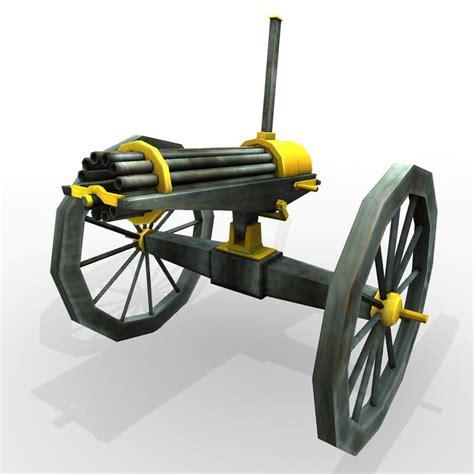 Kaos 3d Gafting Gun civil war gatling gun 3d model