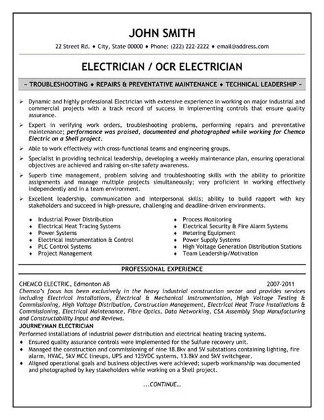 Electrician Resume Template by 23 Best Images About Trades Resume Templates Sles On