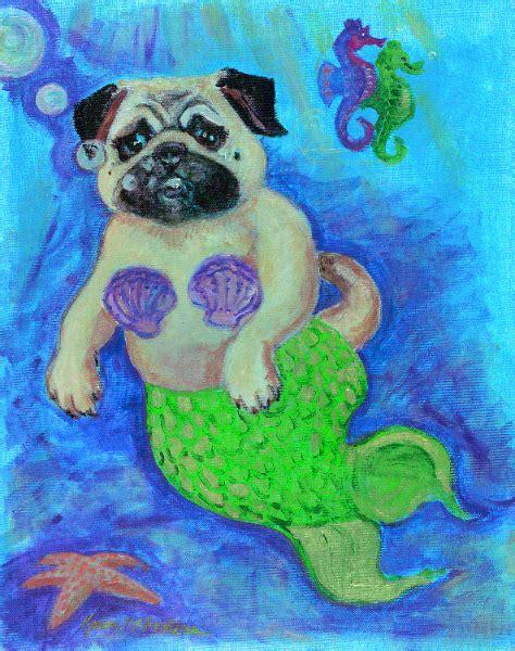 pug mermaid pugs by mcfeaters featuring pug mermaid