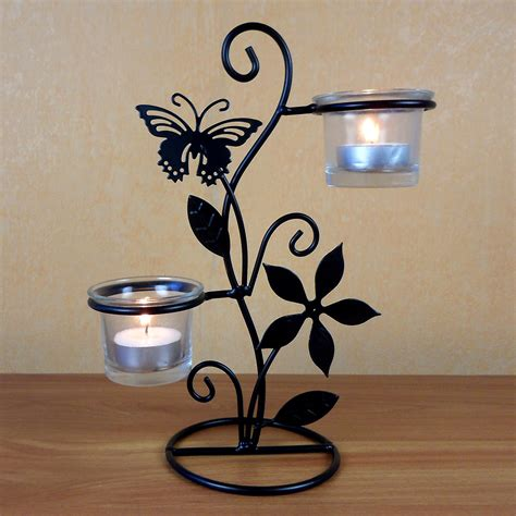 Butterfly Candle Holder rod iron t light butterfly candle holder weddng favors