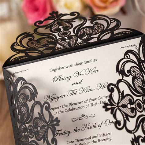 laser cut wedding invitations canada affordable shiny black laser cut wedding invitations ewws027 as low as 2 09