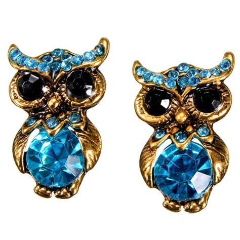 blue lovely rhinestone owl stud earrings for