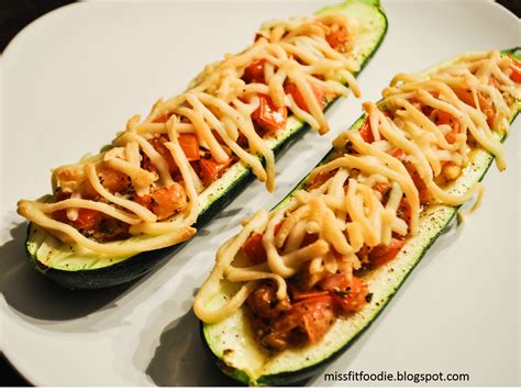 large zucchini pizza boats miss fit foodie