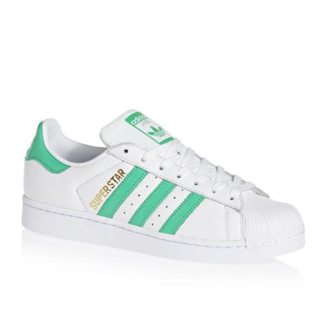 adidas originals superstar shoes white green gold free delivery