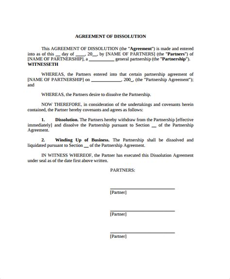 partnership agreement template pdf sle partnership dissolution agreement templates 7