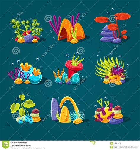 aquarium design eps set of cartoon algae elements for aquarium stock vector