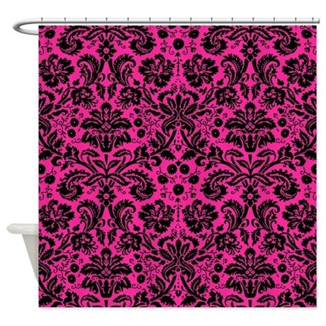 hot pink and black shower curtain hot pink and black damask shower curtain by admin cp49789583