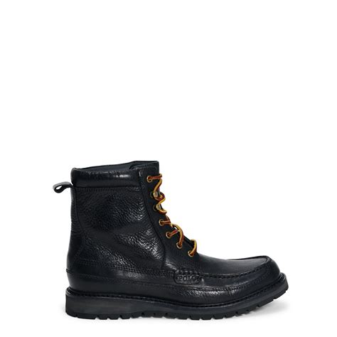 polo ralph willingcott leather boot in black for