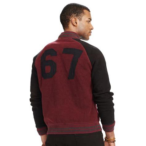 Sweater Baseball Polos Cotton Fleece polo ralph fleece baseball jacket in purple for lyst